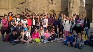 Le groupe au Forum romain Voyage en Italie collège Delfeuille Nogent le Rotrou